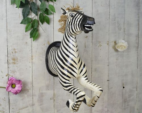 Wooden Zebra On Wall, Natural 55cm